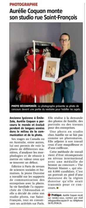 Le journal l'Echo Républicain a également eu la gentillesse d'envoyer au studio Aurélie Coquan Photographe, un de ses journalistes pour en apprendre davantage sur le studio mais aussi le parcourt de sa photographe, Aurélie Coquan, qui s'installait à Châteaudun !