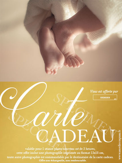 carte cadeau pour séance photo nouveau né par aurélie coquan photographe de maternité