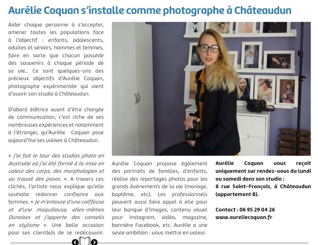 Article de presse de presse de la mairie de Châteaudun sur l'ouverture d'un studio photo à Châteaudun par la photographe Aurélie Coquan www.aureliecoquan.fr