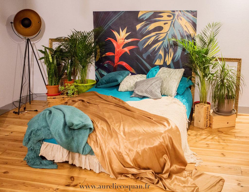 studio photo pour séance photo boudoir décoration chambre thème jungle | www.aureliecoquan.fr