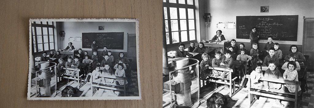 Photo ancienne numérisée et restaurée : photo en noir et blanc des années 1950, d'élèves posant pour la photo de classe, dans une école autour de Châteaudun.