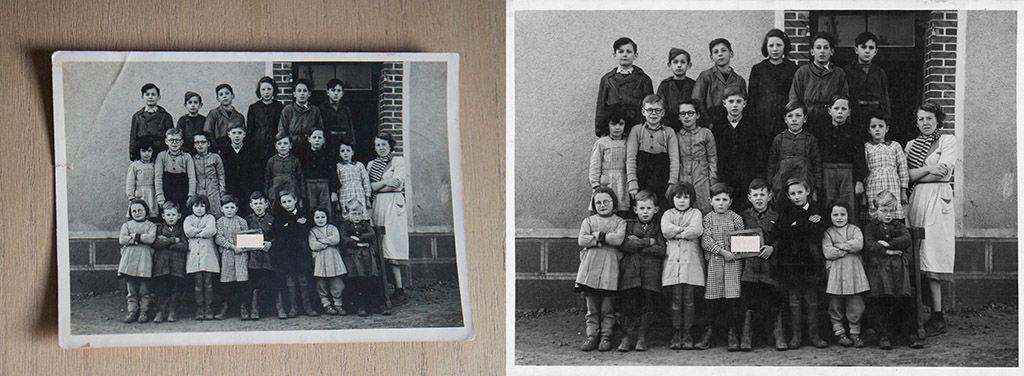 Photo ancienne numérisée et restaurée : photo des années 1950, en noir et blanc, d'élèves posant pour leur portrait de classe autour de Châteaudun.