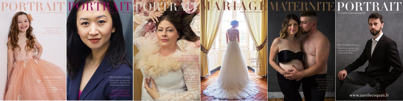 Aurélie Coquan photographe à Châteaudun : panel de photos comprenant photo de mariée, photo de couple grossesse, portrait professionnel, portrait de femme et anniversaire enfant