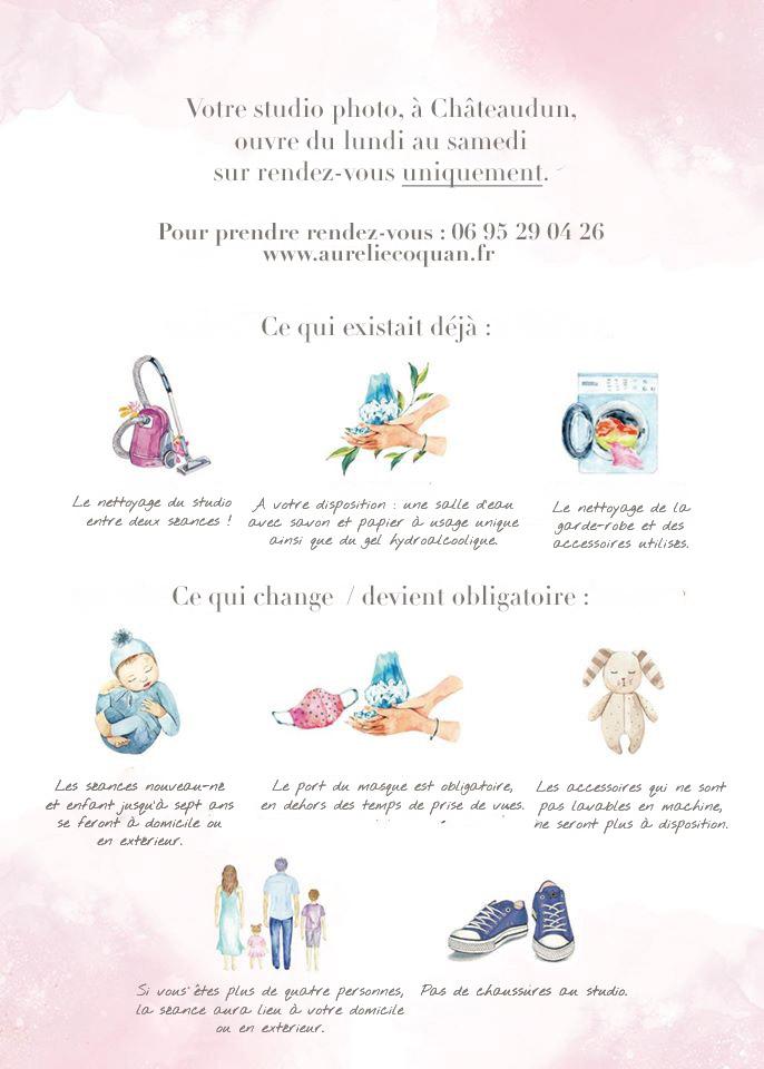 Coronavirus : récapitulatif des mesures d'hygiène à respecter pour venir dans votre studio photo à Châteaudun par Aurélie Coquan